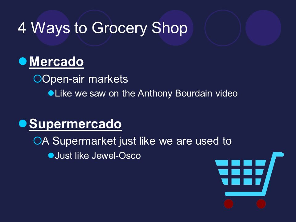 4 Ways to Grocery Shop Mercado Open-air markets Like we saw on the Anthony Bourdain video Supermercado A Supermarket just like we are used to Just lik