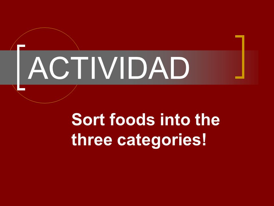 ACTIVIDAD Sort foods into the three categories!
