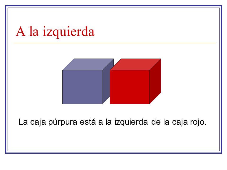 A la izquierda La caja púrpura está a la izquierda de la caja rojo.