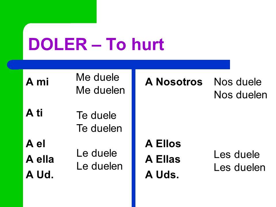 DOLER – To hurt A mi A Nosotros A ti A el A Ellos A ella A Ellas A Ud. A Uds. Me duele Me duelen Te duele Te duelen Le duele Le duelen Nos duele Nos d