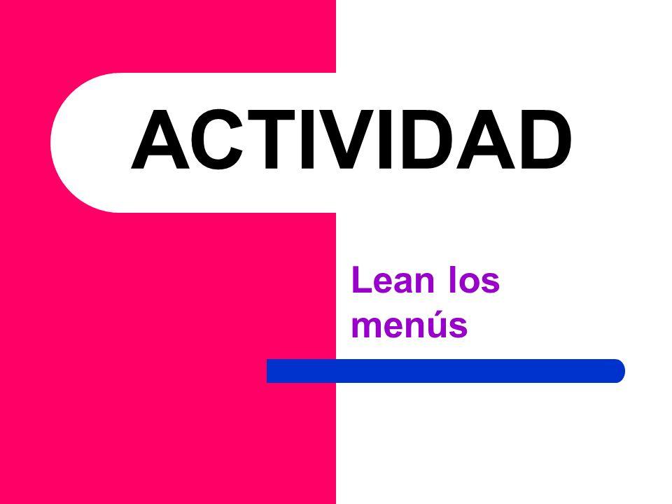 ACTIVIDAD Lean los menús
