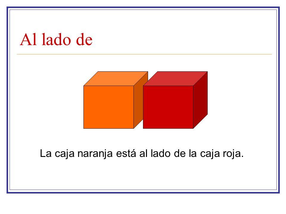 Al lado de La caja naranja está al lado de la caja roja.