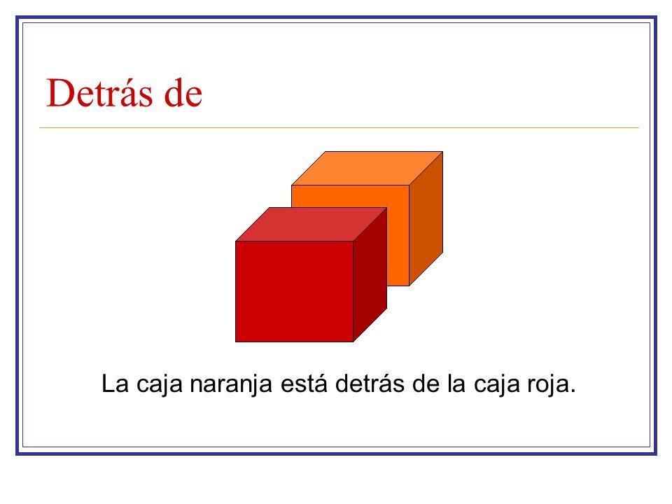 Detrás de La caja naranja está detrás de la caja roja.