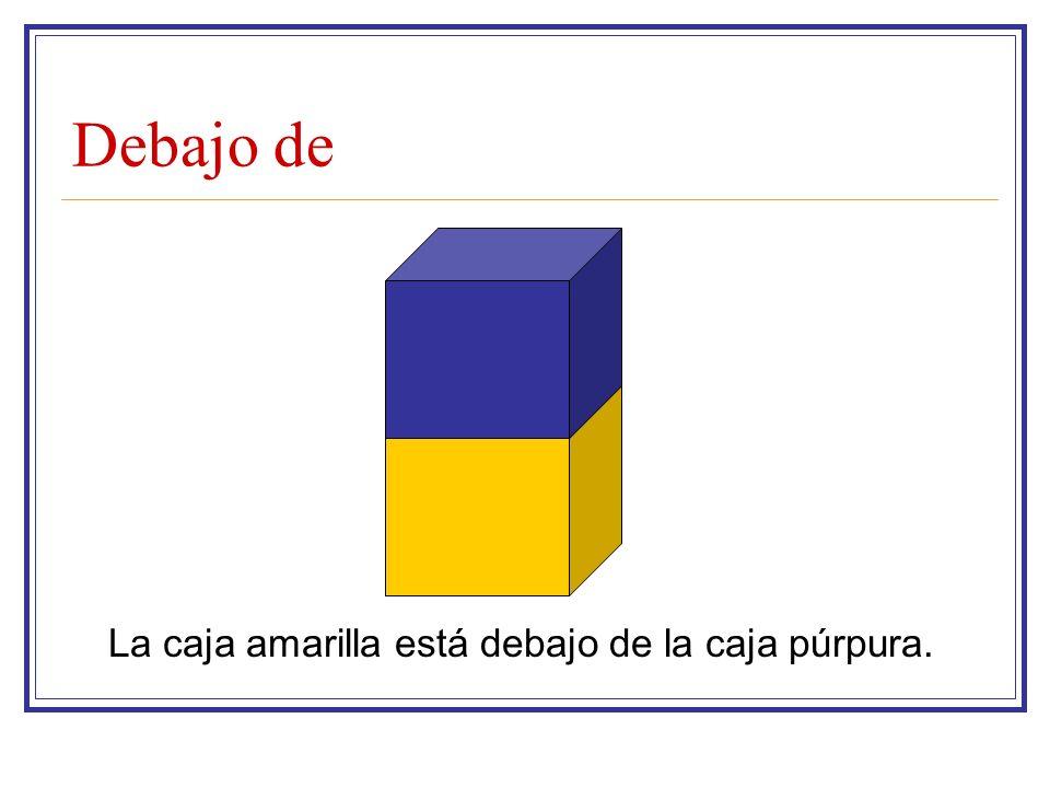 Debajo de La caja amarilla está debajo de la caja púrpura.