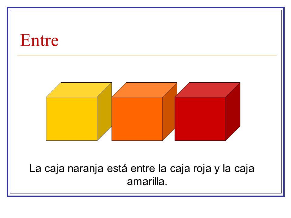 Entre La caja naranja está entre la caja roja y la caja amarilla.