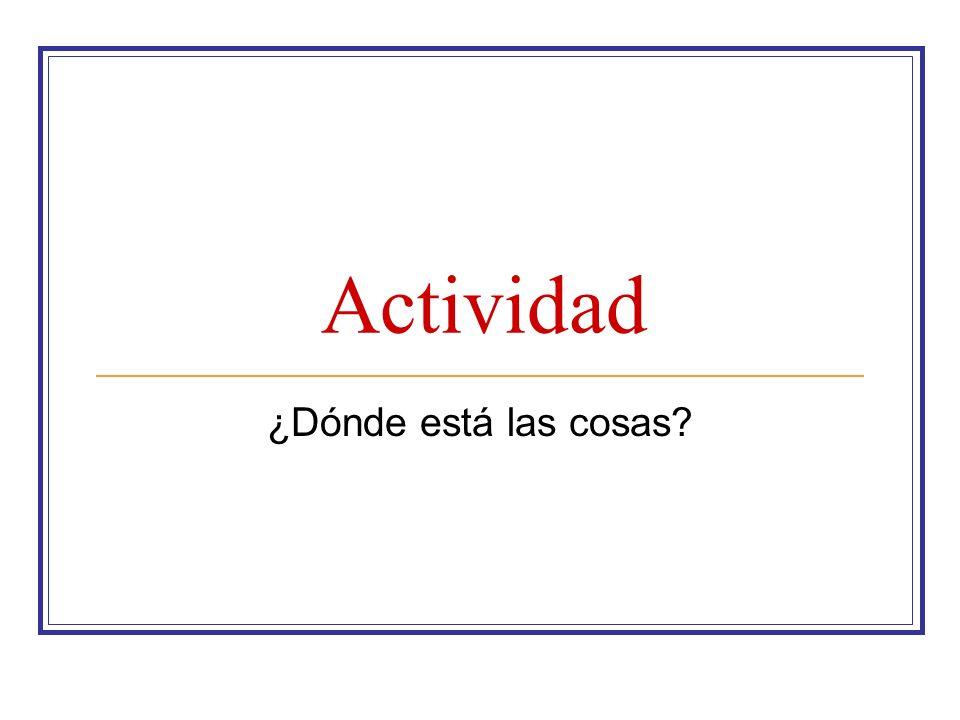 Actividad ¿Dónde está las cosas?