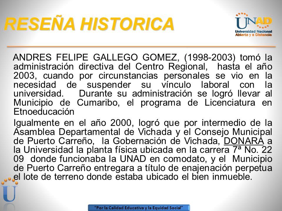 Por la Calidad Educativa y la Equidad Social RESEÑA HISTORICA En el año 1994, es reemplazado por el Licenciado LUIS FERNANDO ARROYAVE SIERRA, (1994-19