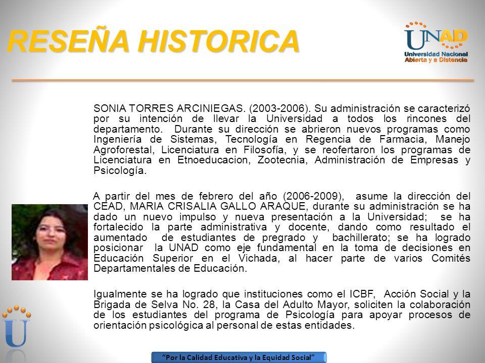 Por la Calidad Educativa y la Equidad Social RESEÑA HISTORICA Consejería Académica Sala de Informática Exposición de Semilleros de Investigación Espac
