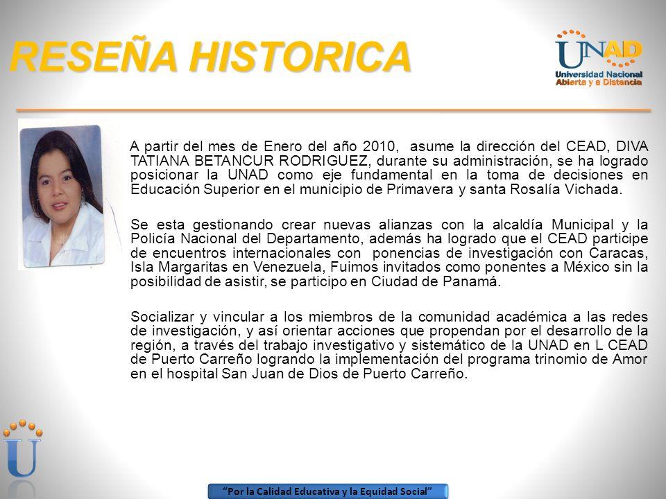 Por la Calidad Educativa y la Equidad Social RESEÑA HISTORICA SONIA TORRES ARCINIEGAS. (2003-2006). Su administración se caracterizó por su intención