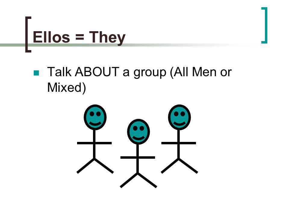 Ellos = They Talk ABOUT a group (All Men or Mixed)
