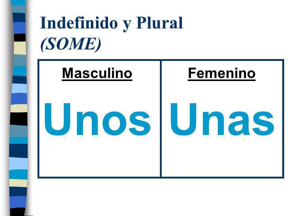 Indefinido y Plural (SOME) Masculino Unos Femenino Unas