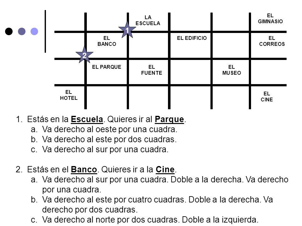 EL BANCO EL PARQUEEL FUENTE EL EDIFICIOEL CORREOS EL MUSEO EL CINE EL GIMNASIO EL HOTEL LA ESCUELA 1.Estás en la Escuela.