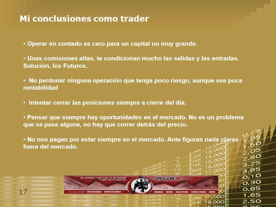 17 Mi conclusiones como trader Operar en contado es caro para un capital no muy grande.