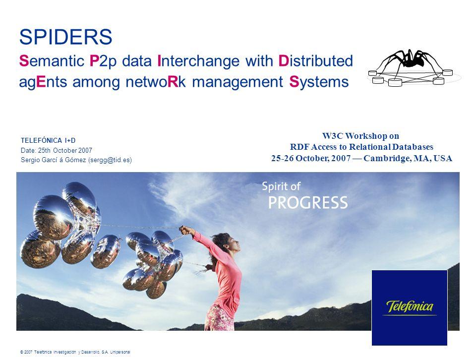 © 2007 Telefónica Investigación y Desarrollo, S.A. Unipersonal SPIDERS Semantic P2p data Interchange with Distributed agEnts among netwoRk management