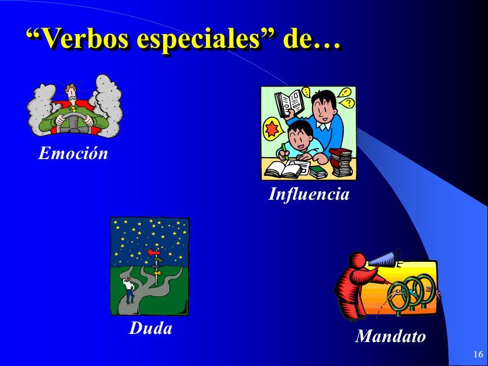 15 Cláusula Principal QUEQUE Cláusula Subordinada + + Indicativo Verbo especial Sujeto diferente Subjuntivo Yo necesito QUE mis estudiantes hagan la tarea.