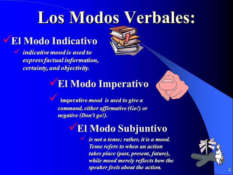 2 Los Modos Verbales: El Modo Subjuntivo is not a tense; rather, it is a mood.