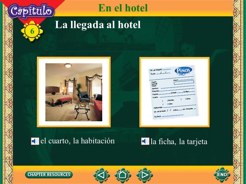 6 la llavekey Checking into a hotel Vocabulario En el hotel la puertadoor el botones, el mozobellhop el equipajebaggage, luggage el ascensor, el elevadorelevator (English-Spanish)