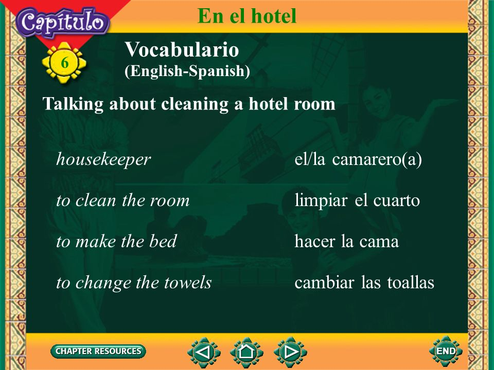 6 la bañerabathtub Talking about a bathroom Vocabulario En el hotel la duchashower el inodoro, el vátertoilet el lavabosink, washbasin el jabónsoap la toallatowel (English-Spanish)