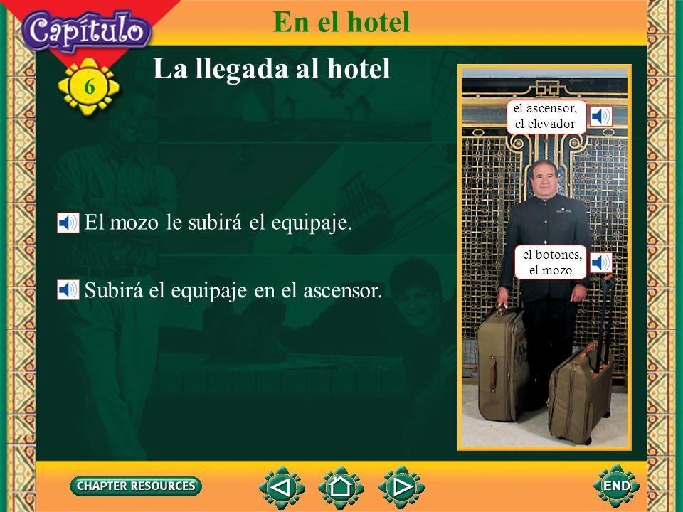 6 la llavekey Checking into a hotel Vocabulario En el hotel la puertadoor el botones, el mozobellhop el equipajebaggage, luggage el ascensor, el elevadorelevator (Spanish-English)