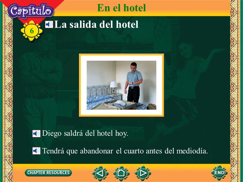 6 la bañerabathtub Talking about a bathroom Vocabulario En el hotel la duchashower el inodoro, el vátertoilet el lavabosink, washbasin el jabónsoap la toallatowel (English-Spanish)