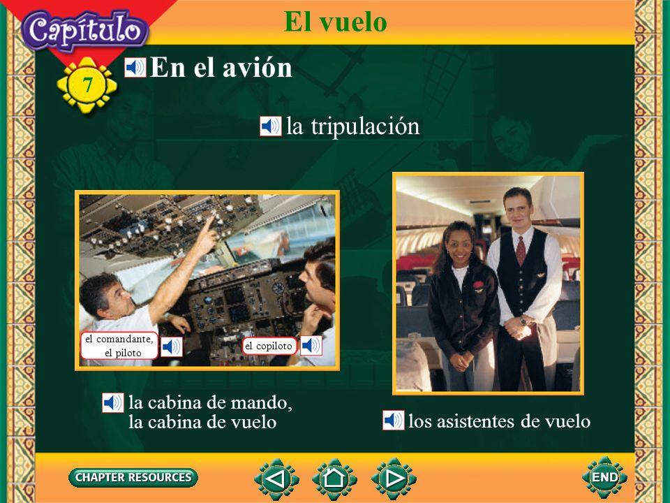 7 el vueloflight Describing a flight and on-board services Vocabulario El vuelo el anuncioannouncement el/la pasajero(a)passenger el aterrizajelanding el despeguetakeoff la escalastopover la altura, la altitudheight;altitude (Spanish-English)