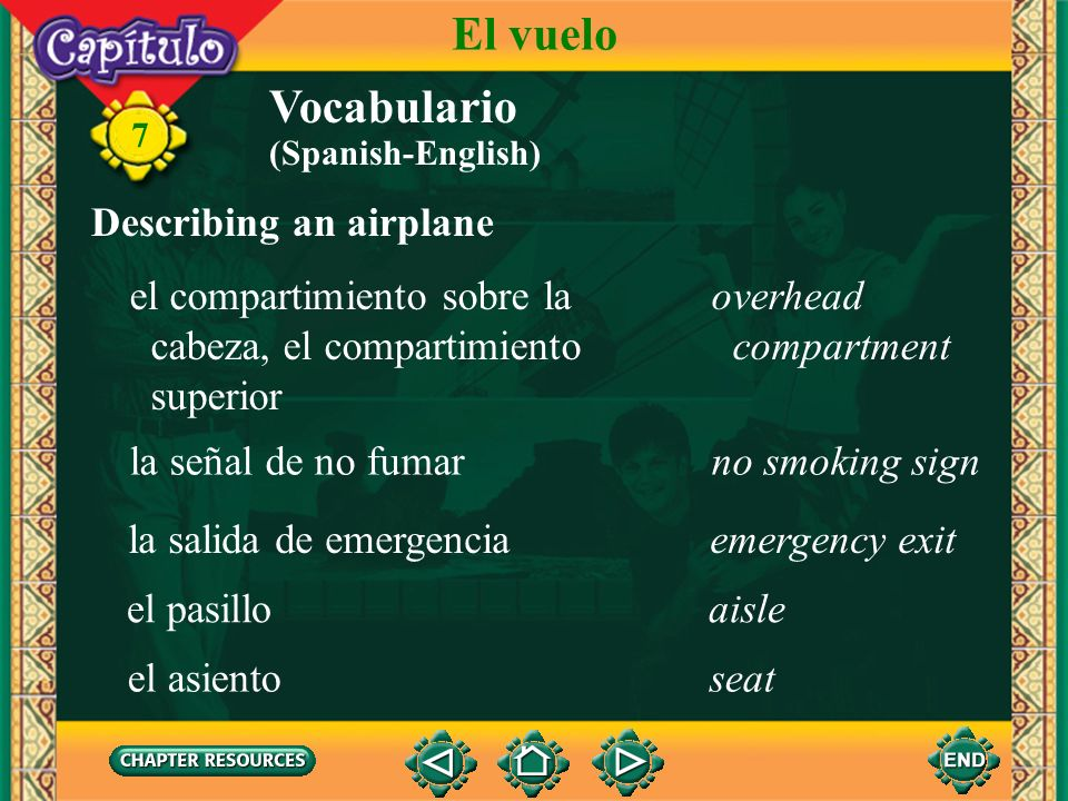 7 Vocabulario Describing an airplane el avión de reacción, el jetjet (Spanish-English) El vuelo la avionetasmall airplane el helicópterohelicopter la