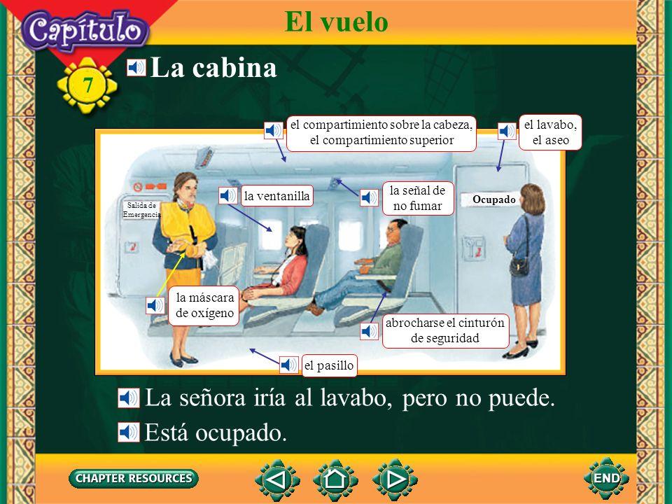 7 La cabina El vuelo La señora iría al lavabo, pero no puede.
