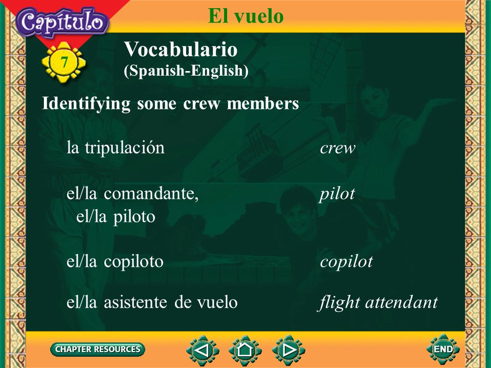 7 Vocabulario Describing an airplane la mesitatray table El vuelo la bandejatray el equipaje de manocarry-on luggage el lavabo, el aseolavatory (Spani