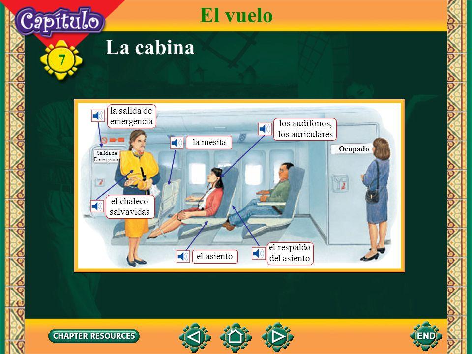 7 La cabina El vuelo Ocupado Salida de Emergencia la salida de emergencia el chaleco salvavidas la mesita los audífonos, los auriculares el respaldo del asiento el asiento