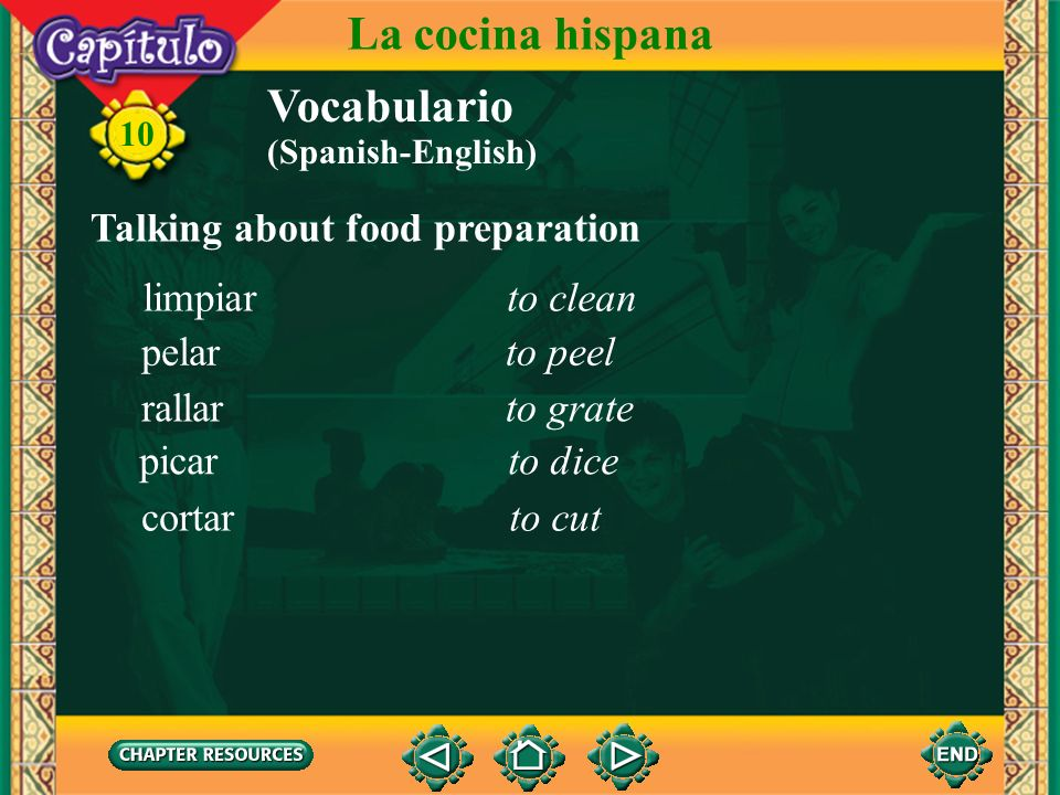 10 Vocabulario Talking about some kitchen appliances and utensils La cocina hispana stove burnerla hornilla, el hornillo pot, saucepanla cazuela, la c