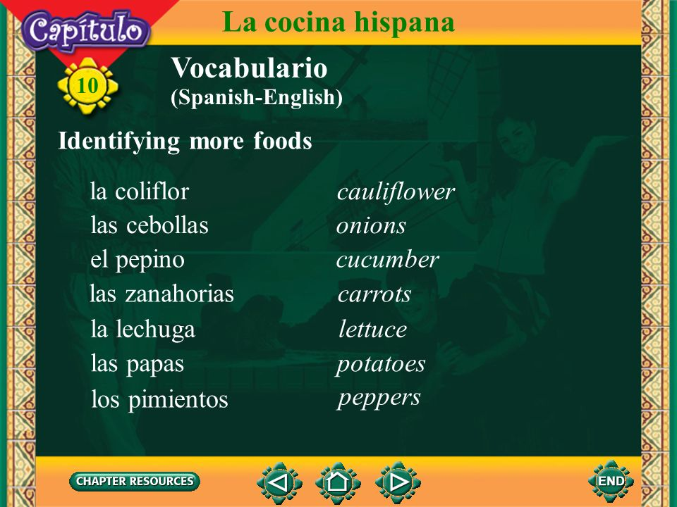 10 Vocabulario Talking about some cooking procedures La cocina hispana to cookcocinar to stirrevolver to fryfreír to roastasar to boilhervir to put (s