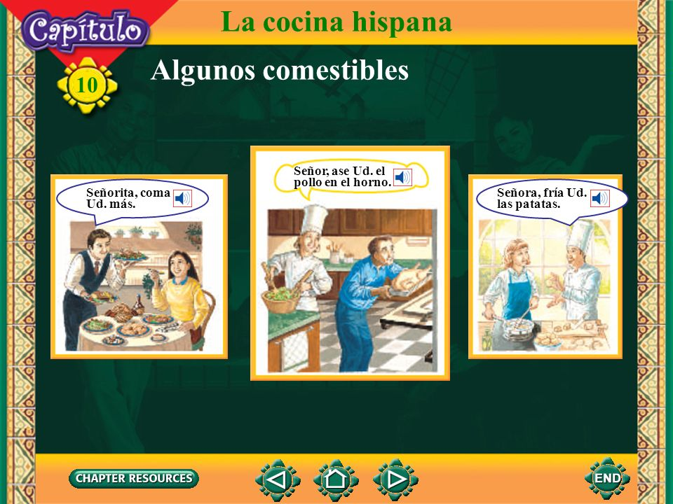 10 Picture Sequence Use pictures from the image bank as cues to tell a story. La cocina hispana