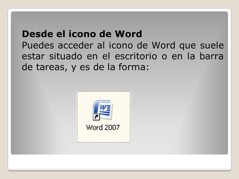 Desde el icono de Word Puedes acceder al icono de Word que suele estar situado en el escritorio o en la barra de tareas, y es de la forma: