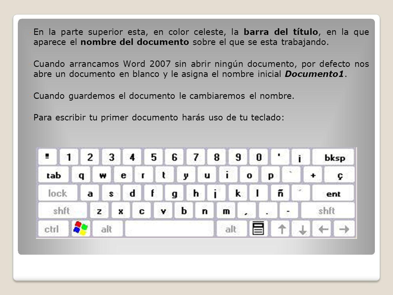 En la parte superior esta, en color celeste, la barra del título, en la que aparece el nombre del documento sobre el que se esta trabajando. Cuando ar