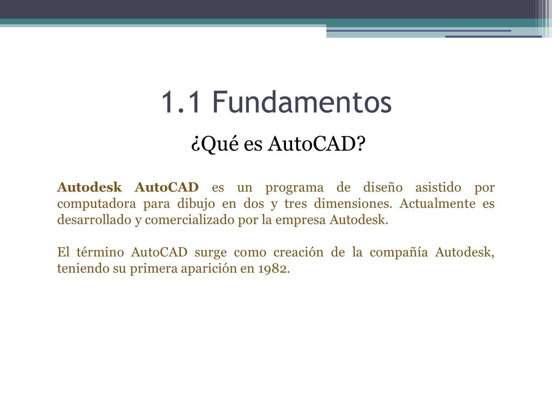1.1 Fundamentos AutoCAD es un software reconocido a nivel internacional por sus amplias capacidades de edición, que hacen posible el dibujo digital de planos de edificios o la recreación de imágenes en 3D.