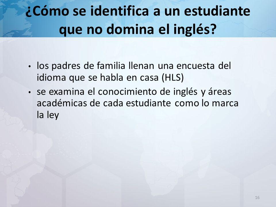 ¿Cómo se identifica a un estudiante que no domina el inglés.