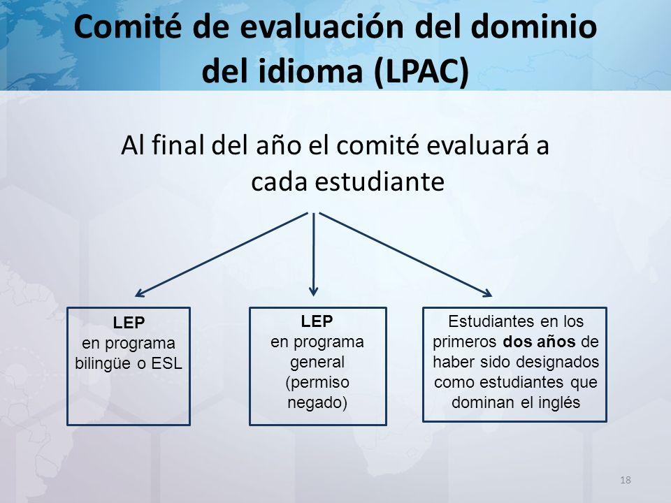 Al final del año el comité evaluará a cada estudiante 18 LEP en programa bilingüe o ESL LEP en programa general (permiso negado) Estudiantes en los primeros dos años de haber sido designados como estudiantes que dominan el inglés
