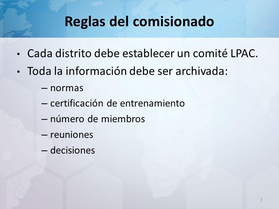 Reglas del comisionado Cada distrito debe establecer un comité LPAC.