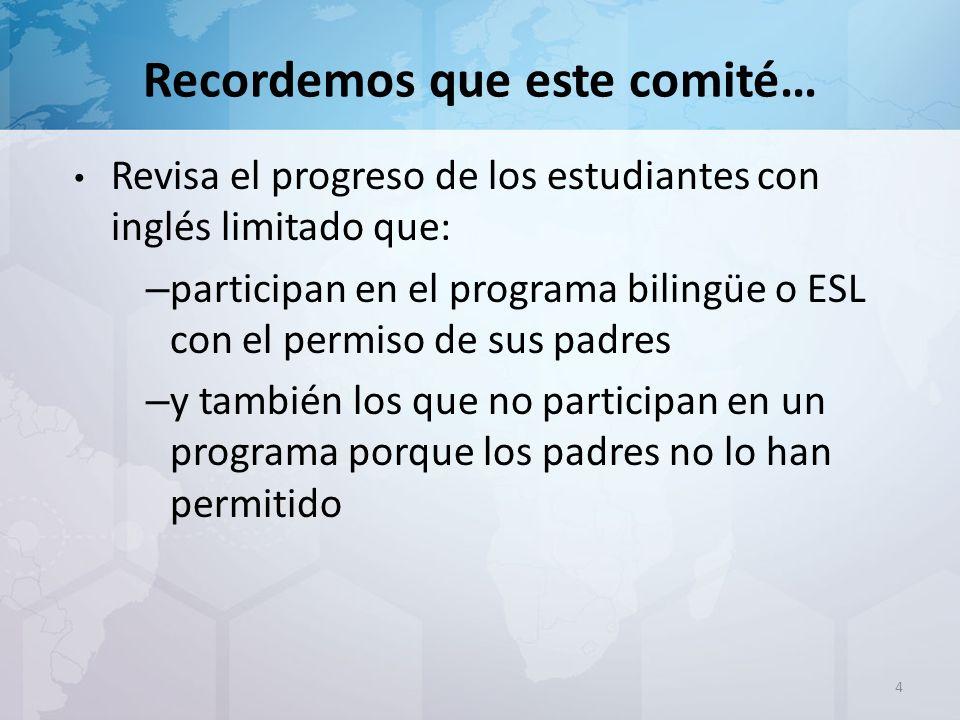 Recordemos que este comité… Revisa el progreso de los estudiantes con inglés limitado que: – participan en el programa bilingüe o ESL con el permiso de sus padres – y también los que no participan en un programa porque los padres no lo han permitido 4