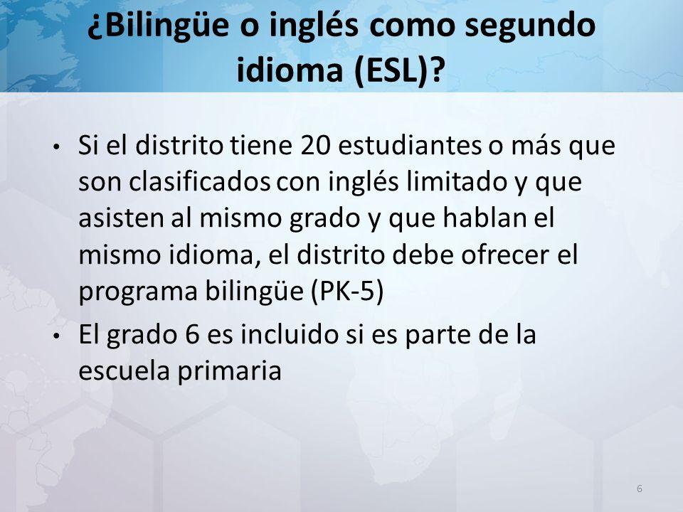 17 El comité recomendará el programa bilingüe o ESL si los resultados de los exámenes indican que el dominio del idioma inglés no está al nivel requerido.