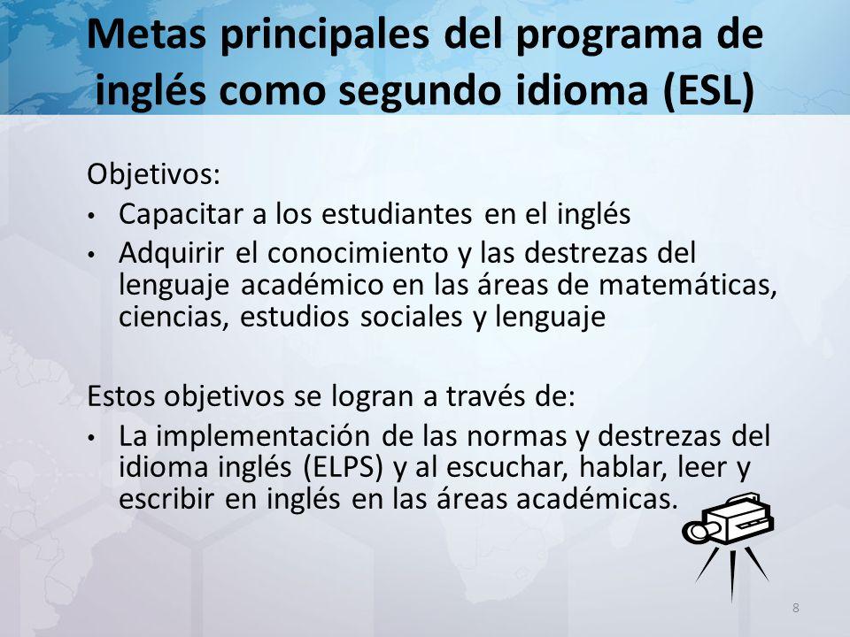 Programas Bilingüe e Inglés como segundo idioma (ESL) Los programas tienen que: ser parte integral de educación general usar textos adoptados por el estado usar materiales suplementarios adaptar la instrucción basándose en las necesidades de cada estudiante 9