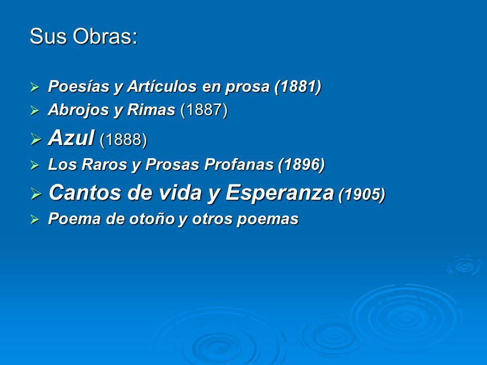 Sus Obras: Poesías y Artículos en prosa (1881) Poesías y Artículos en prosa (1881) Abrojos y Rimas (1887) Abrojos y Rimas (1887) Azul (1888) Azul (188