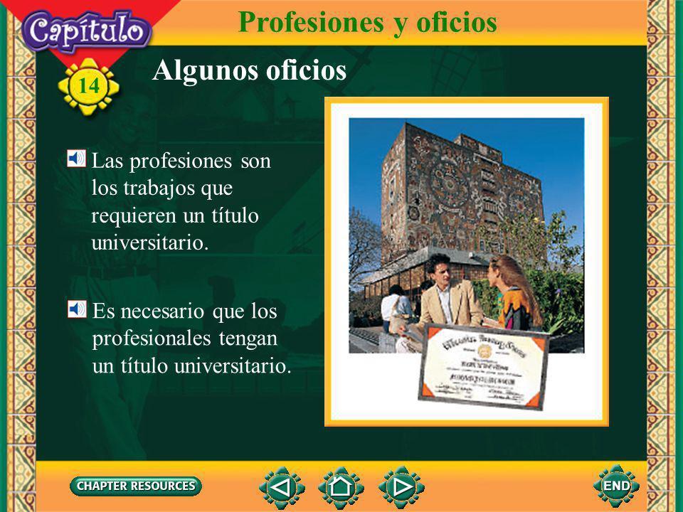 14 Profesiones y oficios Algunos oficios la carpintera Los oficios son los trabajos de especialistas como plomeros y carpinteros. Estos especialistas