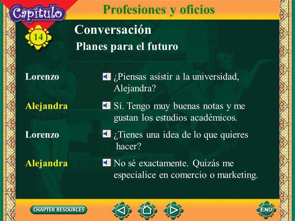 14 Conversación Lorenzo ¿Piensas asistir a la universidad, Alejandra? Planes para el futuro Alejandra Sí. Tengo muy buenas notas y me gustan los estud