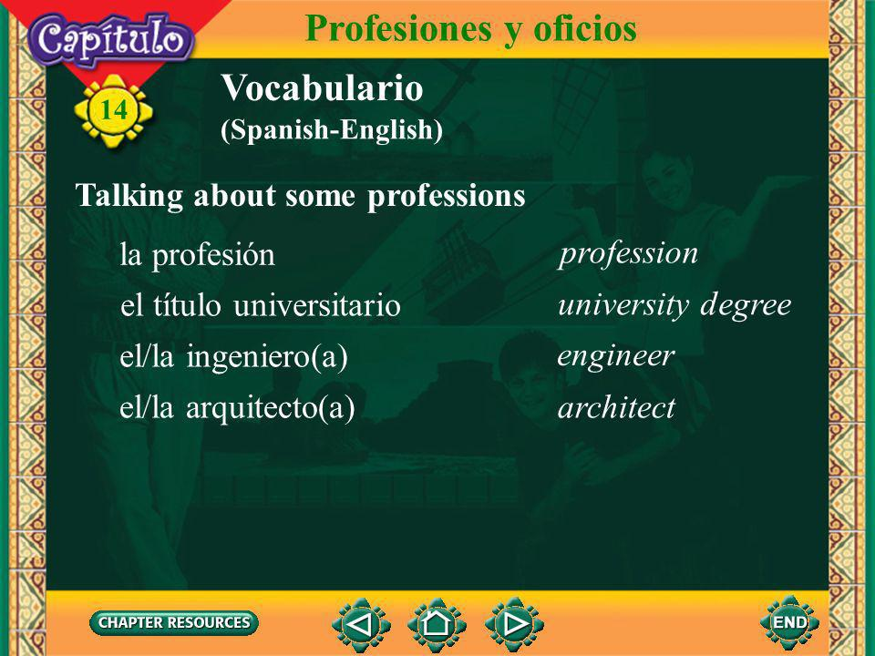 14 Vocabulario Identifying some municipal government workers Profesiones y oficios la alcaldía el alcalde el/la funcionario(a) mayor city hall employee city hall (Spanish-English)
