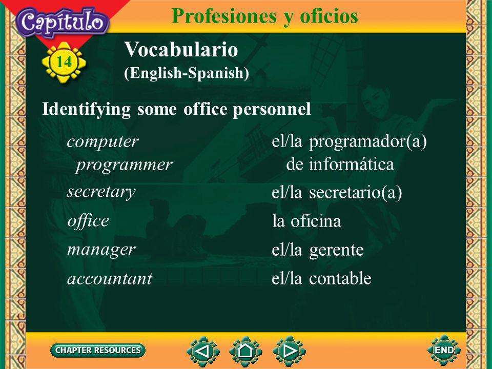 14 Vocabulario Other useful expressions Profesiones y oficios ojalá quizá(s) perhaps I hope, How I wish (Spanish-English)