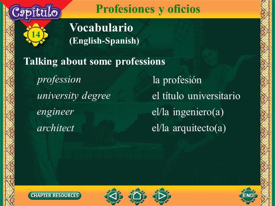 14 Vocabulario Identifying some municipal government workers Profesiones y oficios la alcaldía el alcalde el/la funcionario(a) mayor city hall employee city hall (English-Spanish)