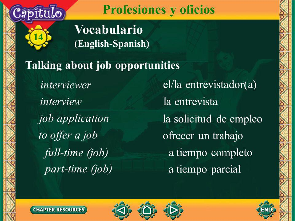 14 Vocabulario Talking about job opportunities Profesiones y oficios un puesto el anuncio el departamento de recursos humanos el/la candidato(a), el/la aspirante advertisement human resources department candidate position (English-Spanish)