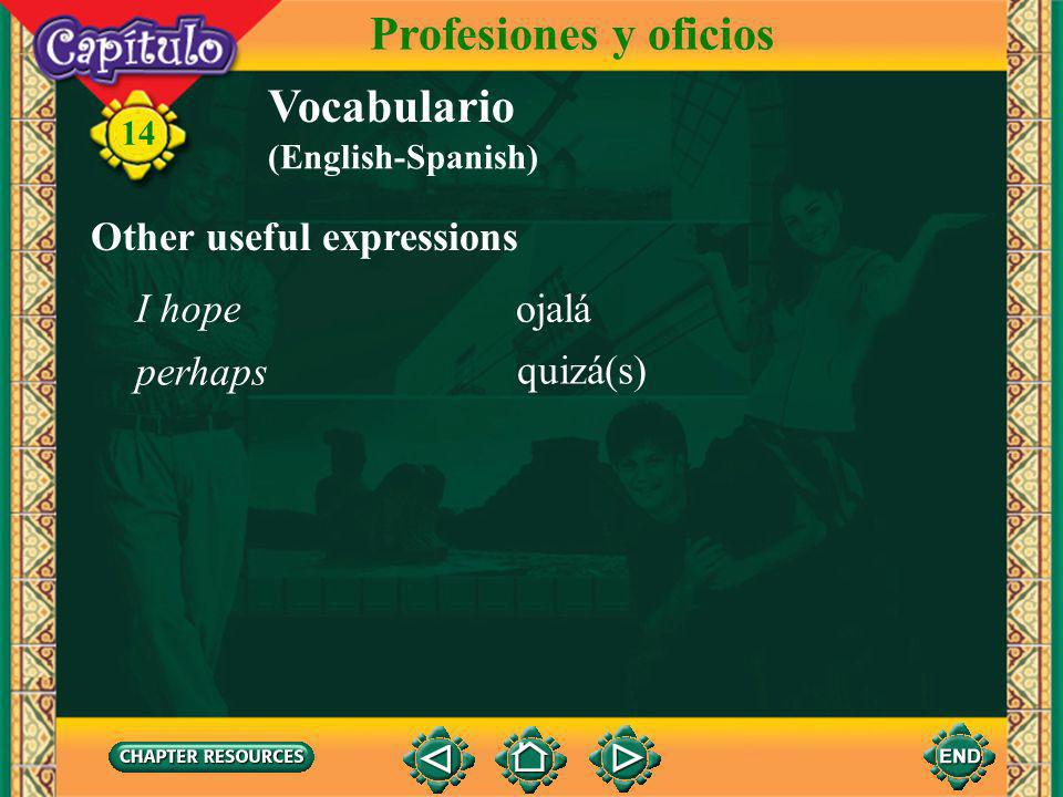 14 Vocabulario Talking about job opportunities Profesiones y oficios el/la entrevistador(a) la entrevista la solicitud de empleo ofrecer un trabajo interview job application to offer a job interviewer a tiempo completo a tiempo parcial full-time (job) part-time (job) (English-Spanish)