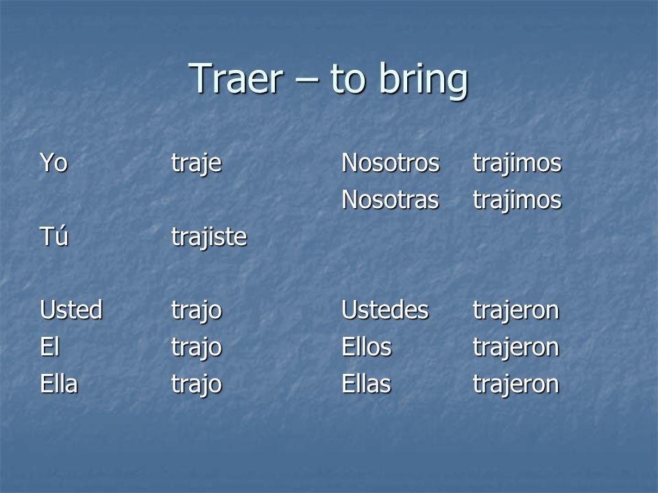 Traer – to bring Yotraje Tútrajiste Ustedtrajo El trajo Ellatrajo Nosotrostrajimos Nosotrastrajimos Ustedes trajeron Ellostrajeron Ellastrajeron